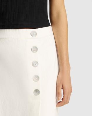 FRIEND of AUDREY Astor Linen Buttoned Skirt - Pencil skirts (White)