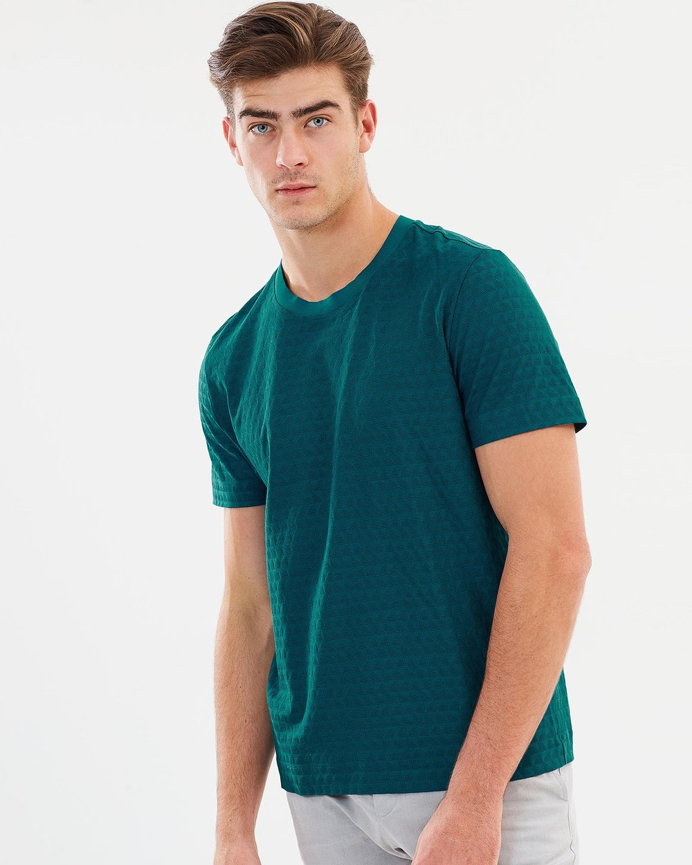 Sharktooth Check Cotton Silk T-Shirt by CERRUTI 1881 Online  0aebfeb80d