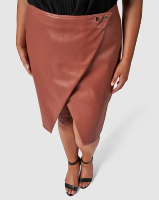 Something 4 Olivia Evie Pu Skirt - Leather skirts (brown)