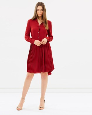 Karen Millen – Drop Waist Shirt Dress Dark Red