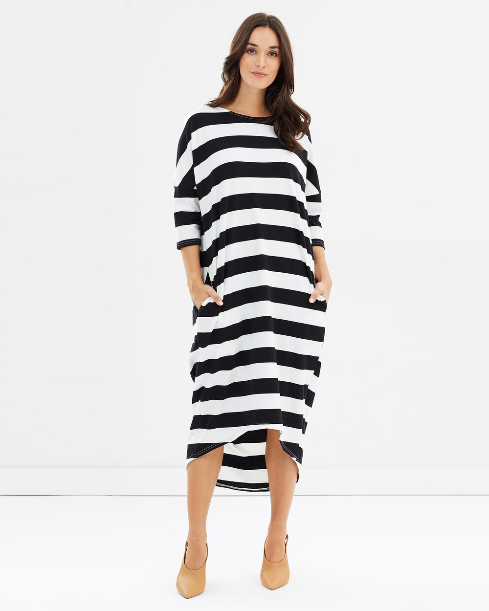 Lincoln St Cocoon Dress Dresses Black Stripe Cocoon Dress
