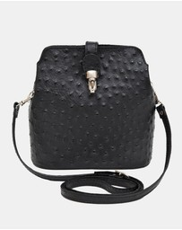 Marlafiji - Gemma black Ostrich Embossed Italian Leather Cross-Body Bag