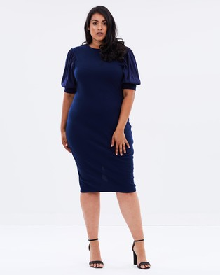 Lost Ink Plus – Body Con Dress with Blouson Sleeves – Bodycon Dresses (Navy)