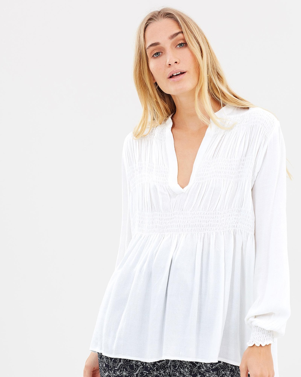 Solito Gathered Shirt Tops White Gathered Shirt