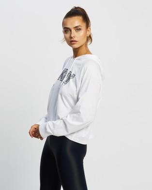 DKNY Raglan Hoodie With Rhinestone Logo - Hoodies (White & Black)
