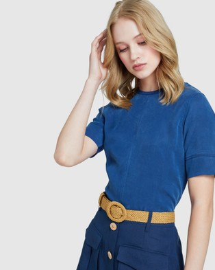 Oxford Mia Woven Front T shirt - Tops (Blue)