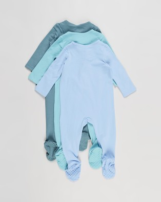 Cotton On Baby 3 Pack Long Sleeve Zip Romper   Babies - Longsleeve Rompers (Deep Pool, Blue Ice & Dusk Blue)