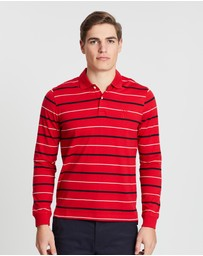 Kent and Curwen - Pinstriped Long Sleeve Polo