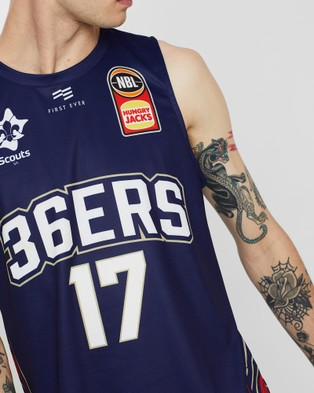First Ever NBL - Adelaide 36ers 19 20 Authentic Home Jersey   Harry Froling - Muscle Tops (Navy)