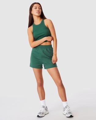 Factorie Hype Fleece Shorts - High-Waisted (Hunter Green)