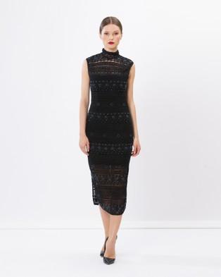 SIYONA – Rihanna Lace Beaded Dress Black