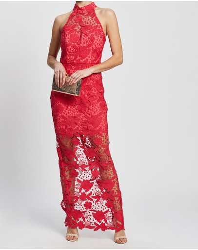 Romance By Honey And Beau Desire Halter Maxi Dress Red