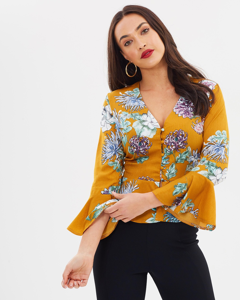 Missguided Satin Floral Button Down Top Tops Gold Satin Floral Button Down Top