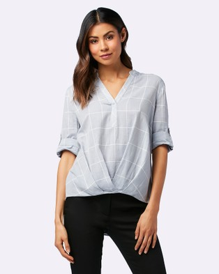 Forever New – Patsy Tuck Front Check Blouse – Tops (Blue & White Check)