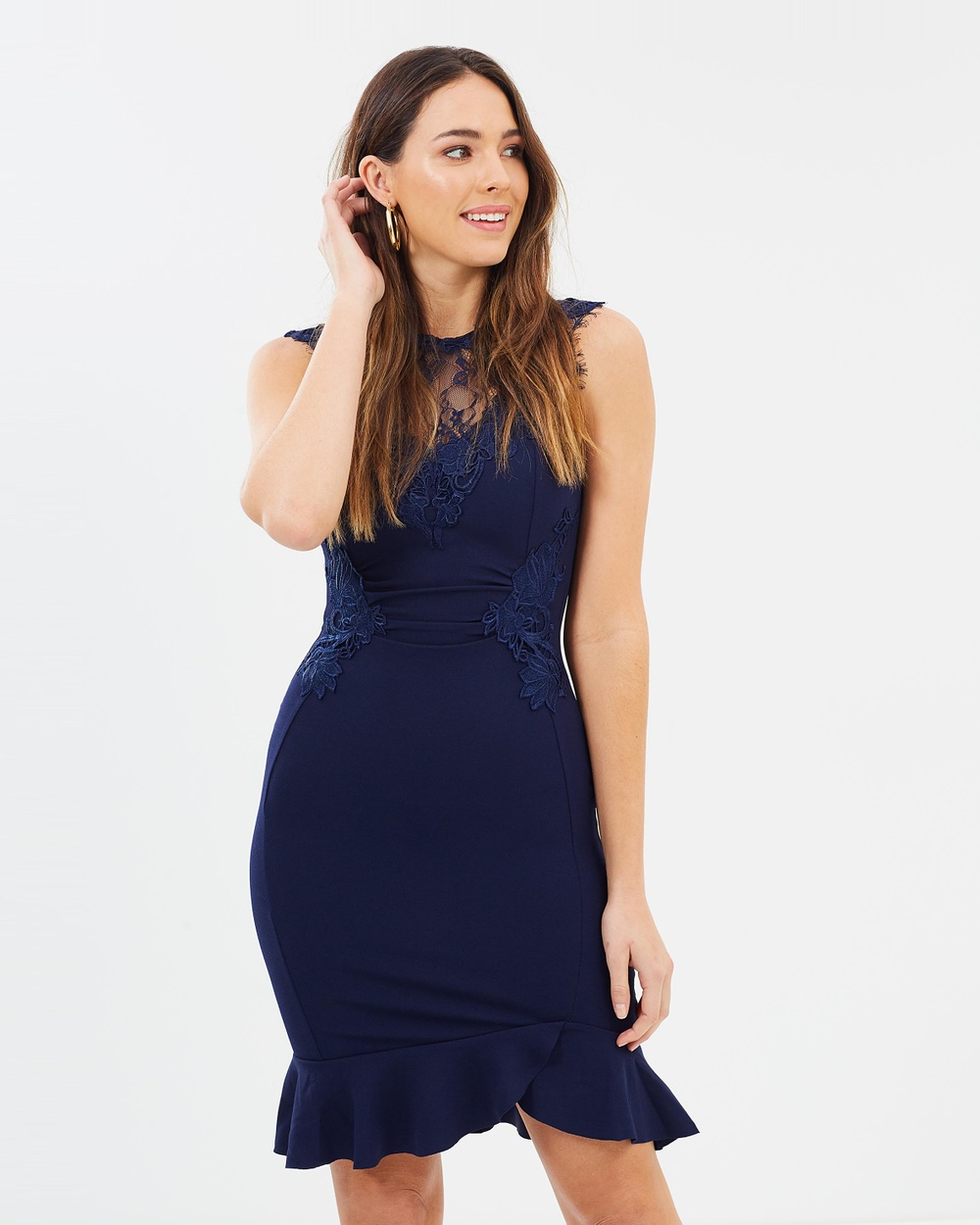 Lipsy Ruched Lace Frill Hem Dress Dresses Navy Ruched Lace Frill Hem Dress