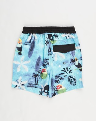 Lost Society Print Boardshorts   Kids - Swimwear (Skull)