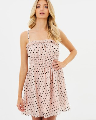 Atmos & Here – Magdalina Dress – Printed Dresses Nude Pink Spot