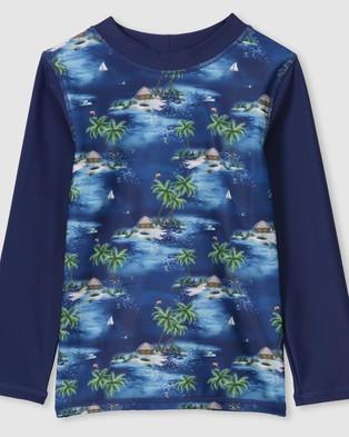 Milky Hawaiian Long Sleeve Rashie   Kids - Swimwear (Steel Blue)