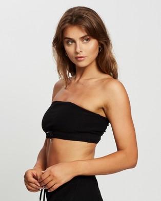 Factorie Reverse Fleece Bandeau Cropped tops Black
