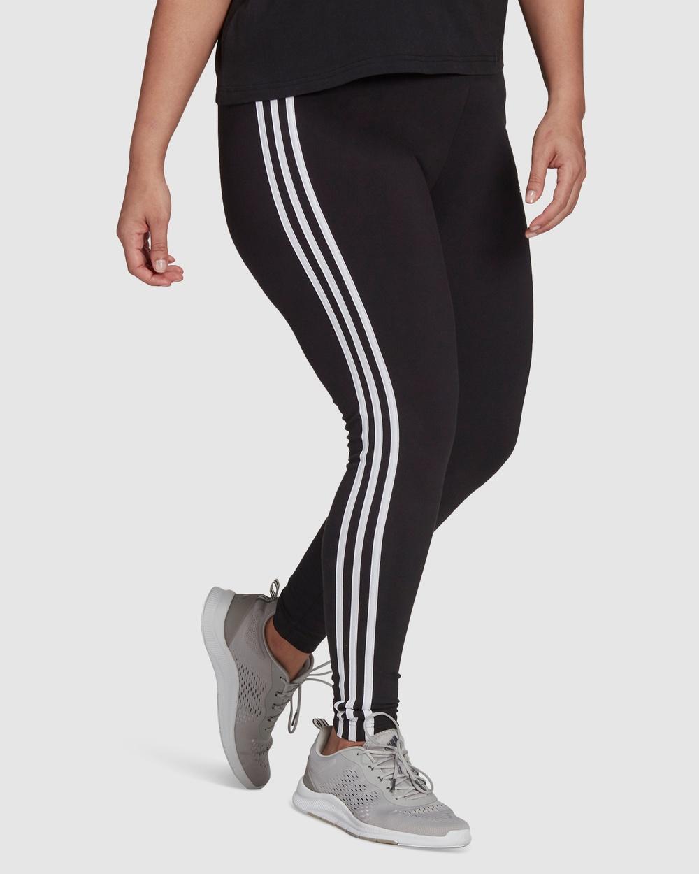 adidas Performance Essentials 3 Stripes Leggings Plus Size Sports Tights Black 3-Stripes
