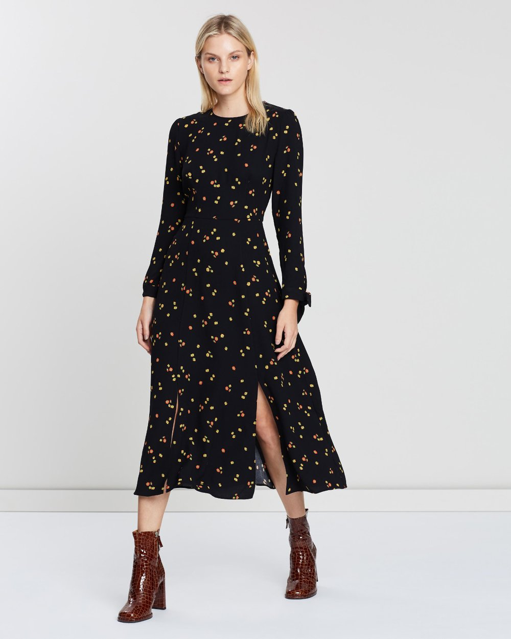 137110da32 Micro Floral Print Tie Cuff Dress by Whistles Online