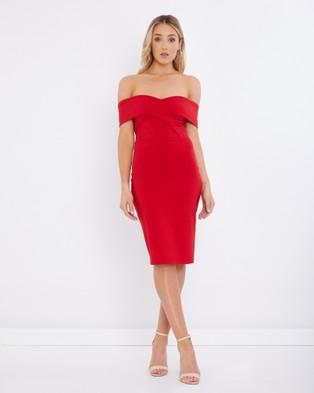 Tussah – Vegas Off Shoulder Dress – Bodycon Dresses Red