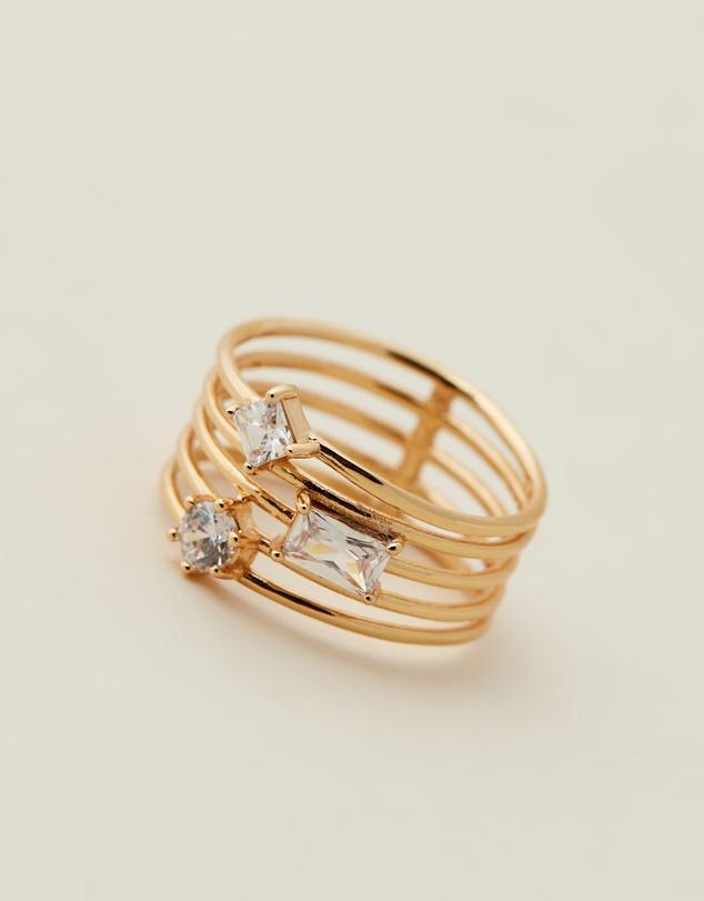 Women Triple Stone Stack Ring