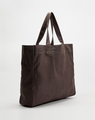 AERE Organic Canvas Oversized Tote - Bags (Charcoal Black)