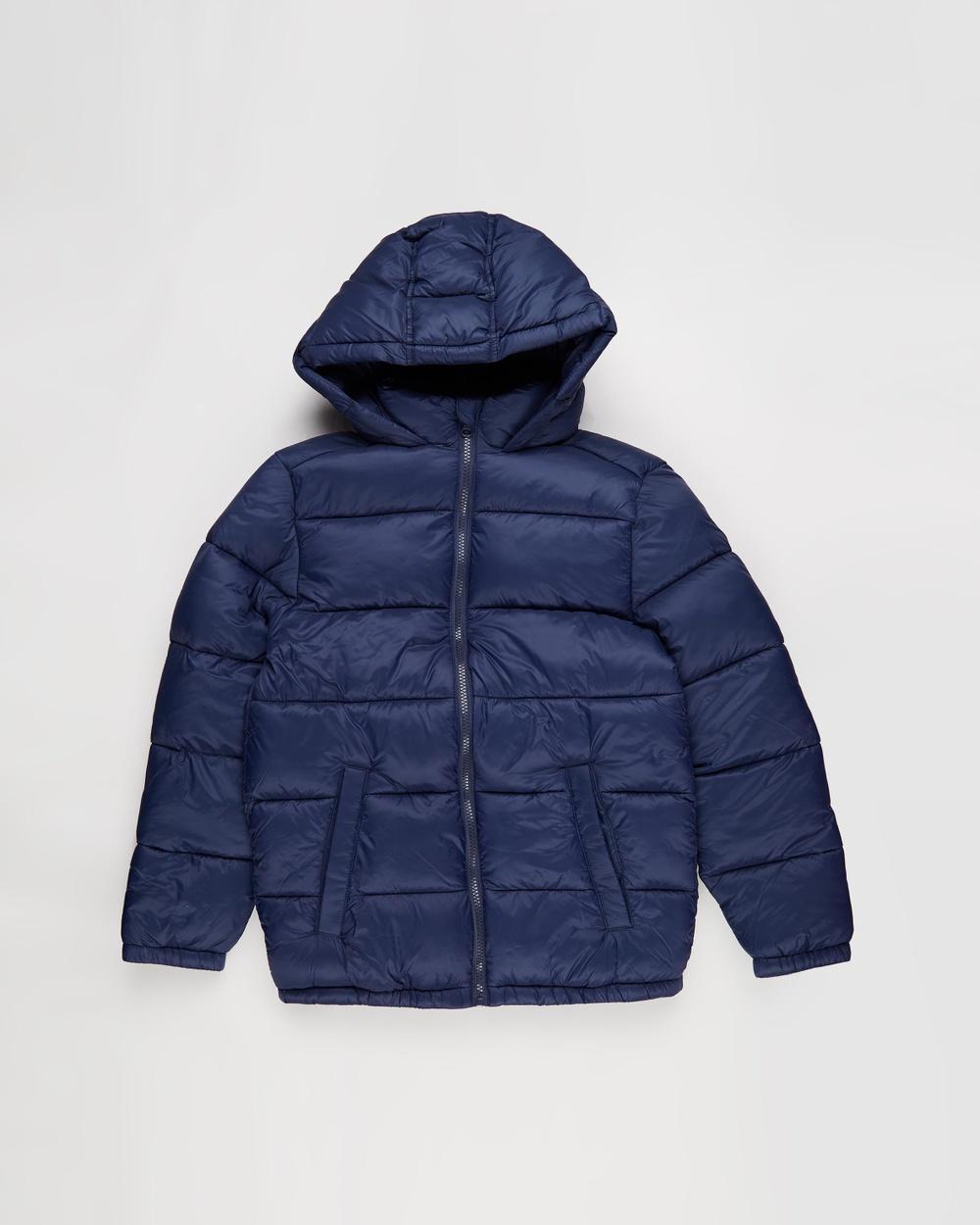 Free by Cotton On Charlie Puffer Jacket Teens Coats & Jackets Indigo Australia