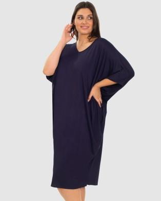 B Free Intimate Apparel Bamboo V Neck Draped Dress Sleepwear Navy