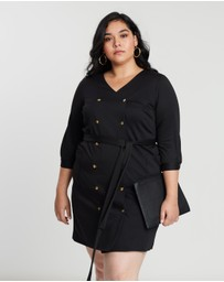 DP Curve - Ponte Double-Breasted Shirt Dress