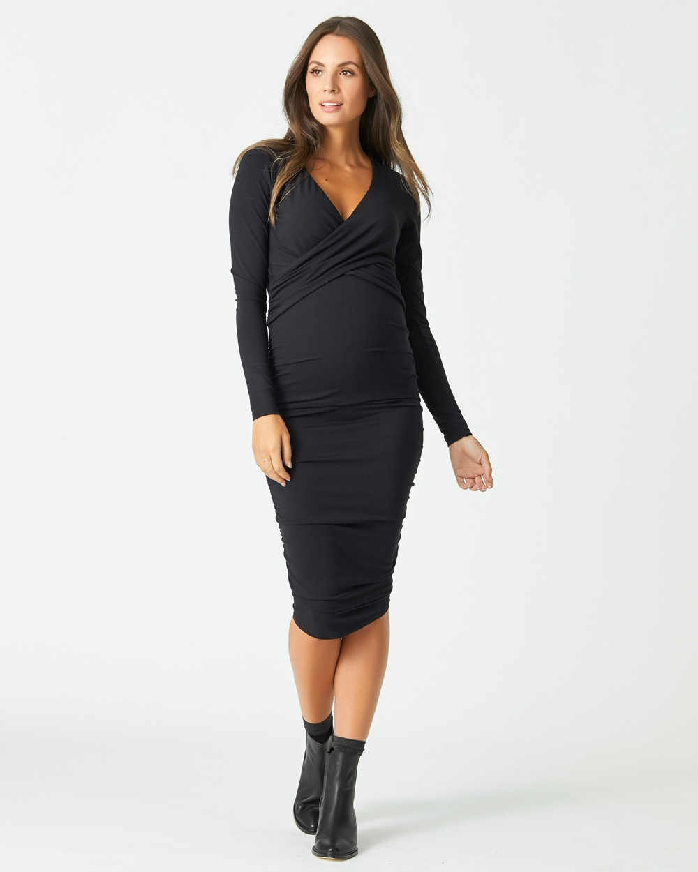 Photo of Pea in a Pod Maternity Black Bailey Crossover Nursing Dress - buy Pea in a Pod Maternity dresses on sale online