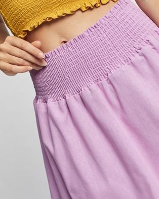 Glamorous Shirred Waist Mini Skirt - Skirts (Lilac)