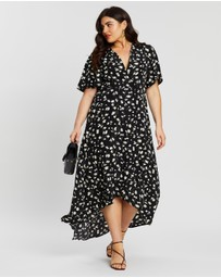 Missguided Curve - Floral Dip Hem Midi Dress