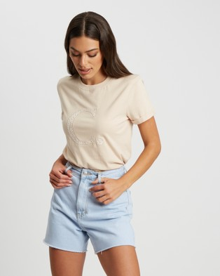 Calli Floral Tee - T-Shirts & Singlets (Tan  - White Logo)