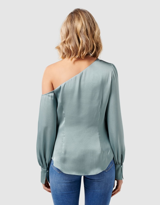 Forever New - Lana Satin Tipped Shoulder Blouse