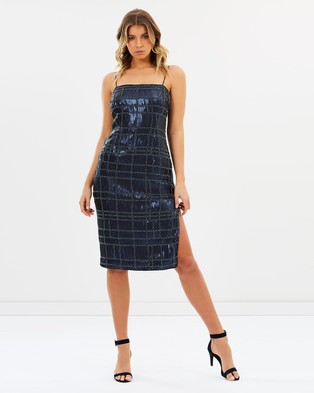 Misha Collection – Aurelie Beaded Strapless Dress Navy