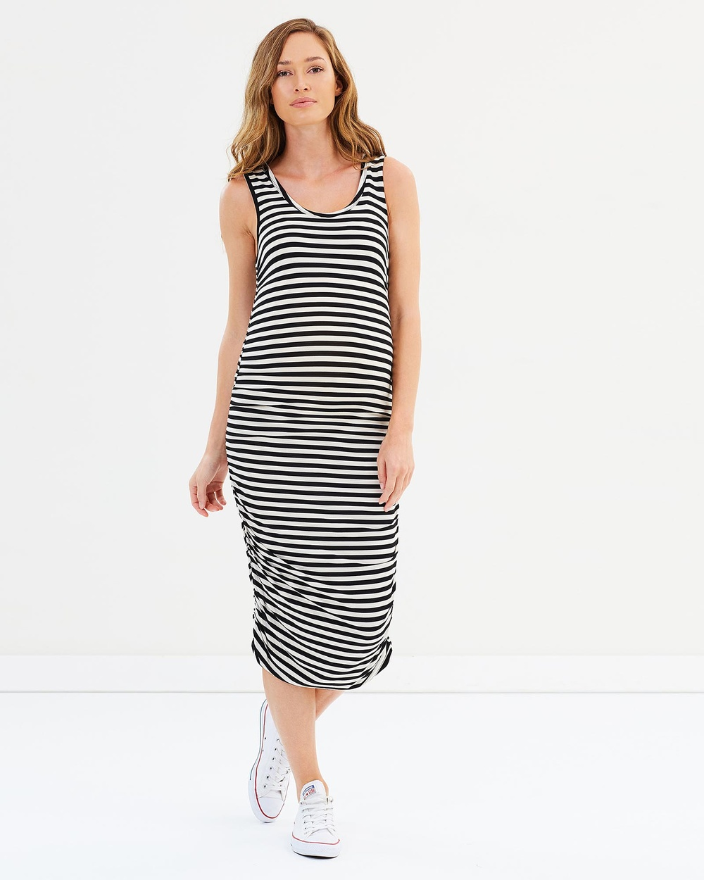 Bamboo Body Ruched Tank Dress Dresses Black, White Ruched Tank Dress