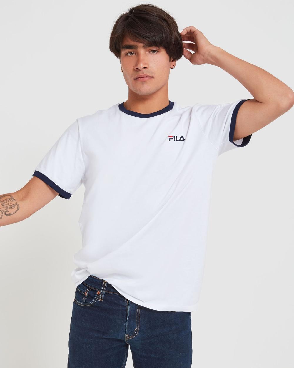 Fila Classic Ringer Tee Men's T-Shirts & Singlets White Australia