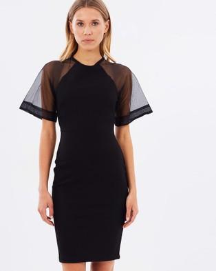 Naked Official – Silk Raglan Sleeve Fitted Dress – Dresses (Black)