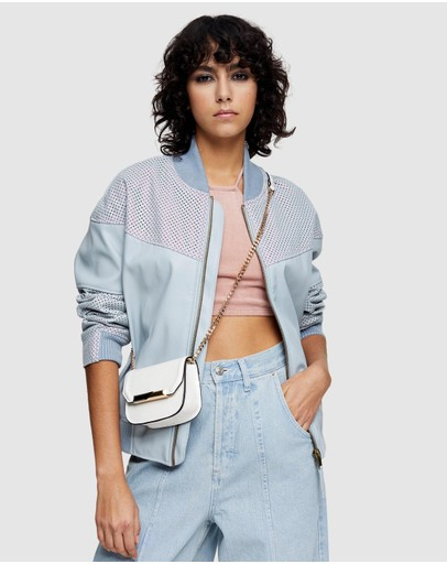 TOPSHOP - Faux Leather Bomber Jacket