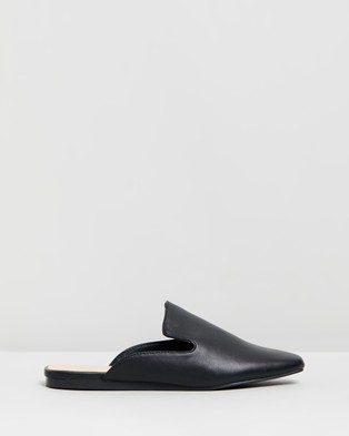 Therapy Estella Mules - Flats (Black Smooth)
