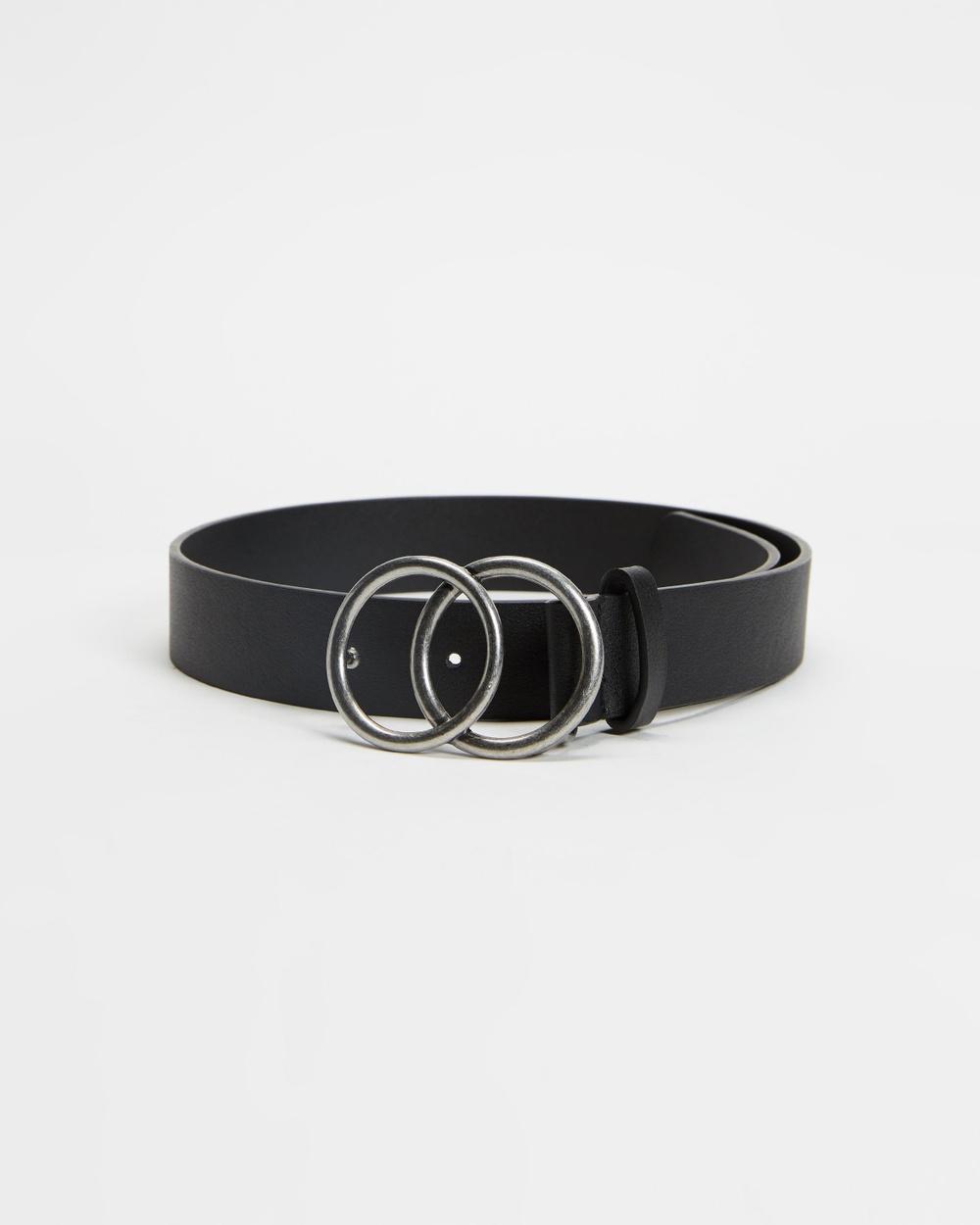 Decjuba Kids Double Circle Belt Teens Belts Black & Burnished Silver