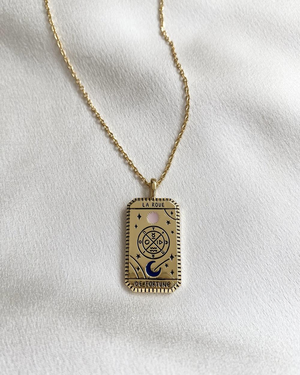 Wanderlust + Co La Roue De Fortune Gold Tarot Necklace Jewellery Gold