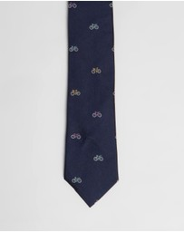 Paul Smith - Embroidered Bicycle Narrow Silk Tie