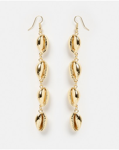 Miz Casa And Co Statement Cowrie Shell Earrings Gold