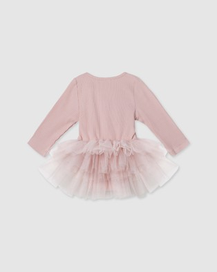 Designer Kidz - Ballet Pink L S Rib Tutu Romper Rompers (Pink) L-S