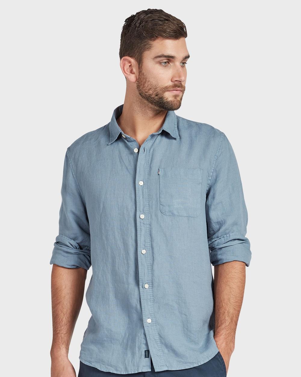 Academy Brand Hampton L S Linen Shirt Shirts & Polos Blue L-S
