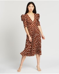 BY JOHNNY. - Tessa Spot Tie-Back Pleated Midi Dress