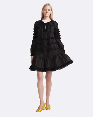 Cynthia Rowley – Polished Cotton Fringed Flounce Dress – Dresses (Black)